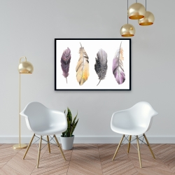 Framed 24 x 36 - Bohemian feather set