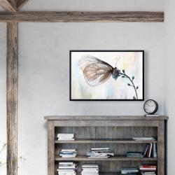 Framed 24 x 36 - Butterfly on blue flowers