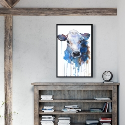 Framed 24 x 36 - Watercolor jersey cow