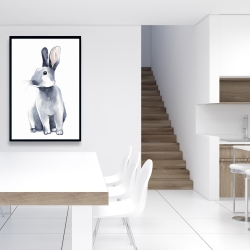 Framed 24 x 36 - Gray curious rabbit