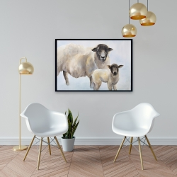 Framed 24 x 36 - Sheep and its baby