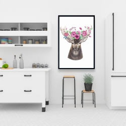 Framed 24 x 36 - Deer head with flowers