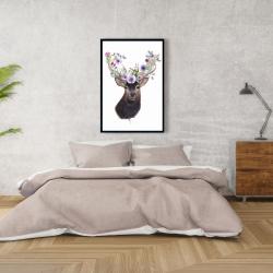 Framed 24 x 36 - Roe deer head with flowers