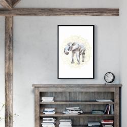 Framed 24 x 36 - Elephant on mandalas pattern