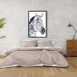 Framed 24 x 36 - Watercolor zebra