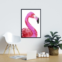 Framed 24 x 36 - Watercolor proud flamingo profile