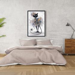 Framed 24 x 36 - Cartoon black cat