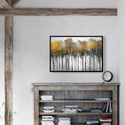 Framed 24 x 36 - Abstract yellow forest
