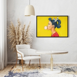Framed 24 x 36 - Retro woman with beautiful ponytail