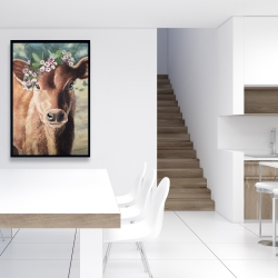 Framed 24 x 36 - Cute jersey cow