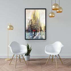 Framed 24 x 36 - Abstract rainy street