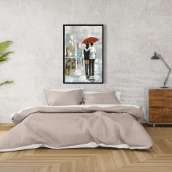 Framed 24 x 36 - Couple walking under their umbrella