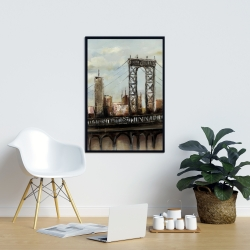 Framed 24 x 36 - City bridge by a cloudy day