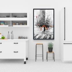 Framed 24 x 36 - Greyish flatiron building