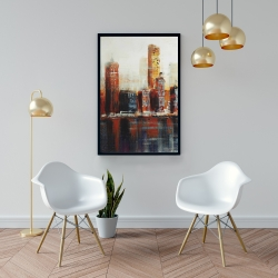 Framed 24 x 36 - Abstract red cityscape
