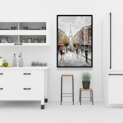 Framed 24 x 36 - Paris busy street