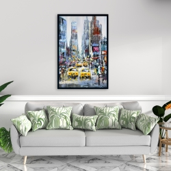 Framed 24 x 36 - Urban scene with yellow taxis