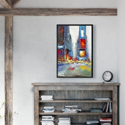 Framed 24 x 36 - Abstract and colorful buildings
