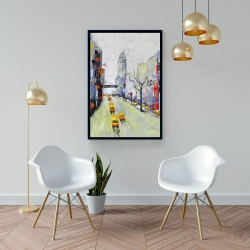 Framed 24 x 36 - Gray street with yellow and red accents