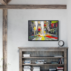 Framed 24 x 36 - Abstract texturized cityscape