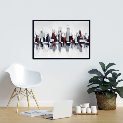 Framed 24 x 36 - Gray and red cityscape