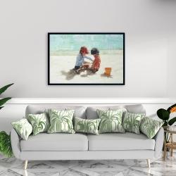 Framed 24 x 36 - Little girls at the beach