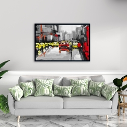 Framed 24 x 36 - Abstract traffic by a rainy day