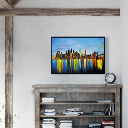 Framed 24 x 36 - City by night with a bridge