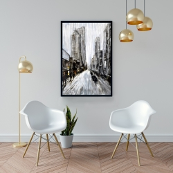 Framed 24 x 36 - Gray gloomy street