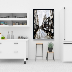 Framed 24 x 36 - Busy gray street
