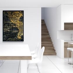 Framed 24 x 36 - Blue and marine world map globe