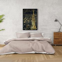 Framed 24 x 36 - Gold city blue print