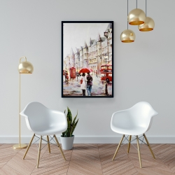 Framed 24 x 36 - European street by a rainy day