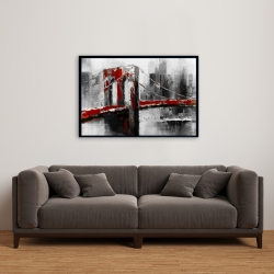 Framed 24 x 36 - Abstract and red brooklyn bridge