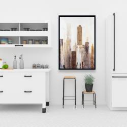 Framed 24 x 36 - Abstract earthy tones city