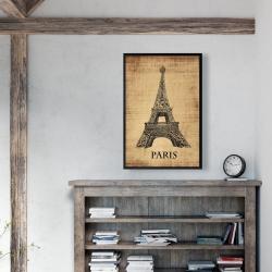 Framed 24 x 36 - Eiffel tower illustration