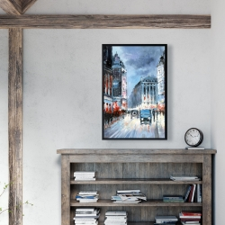 Framed 24 x 36 - Abstract red and blue city