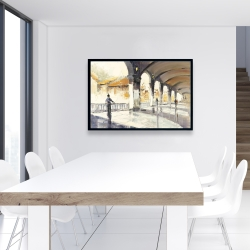 Framed 24 x 36 - People in a spacious hall