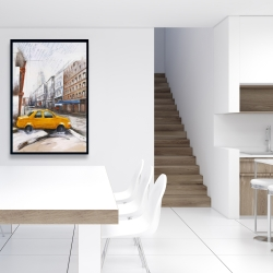 Framed 24 x 36 - Taxi in the street sketch