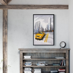 Framed 24 x 36 - Yellow taxi and city sketch