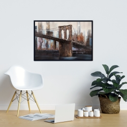 Framed 24 x 36 - Urban brooklyn bridge