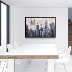 Framed 24 x 36 - Buildings through the clouds