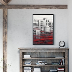 Framed 24 x 36 - Gray city with red clouds