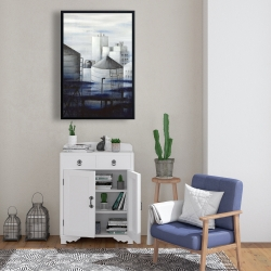Framed 24 x 36 - Gray city with blue clouds