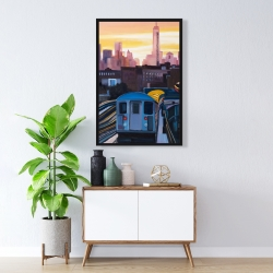 Framed 24 x 36 - Sunset over the subway in new-york