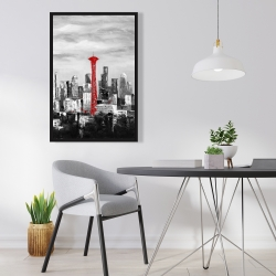 Framed 24 x 36 - Space needle in red