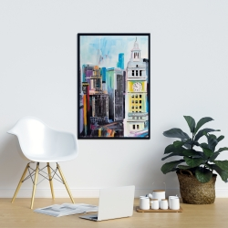 Framed 24 x 36 - Colorful cityscape of manhattan