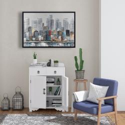 Framed 24 x 36 - Abstract city skyline