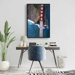 Framed 24 x 36 - Overhead view of the golden gate and mountains