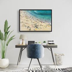 Framed 24 x 36 - Summer crowd at the beach